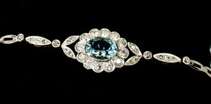 18K Antique Platinum Aquamarine & Diamond Bracelet