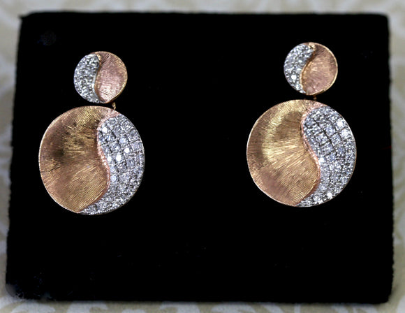Textured ~ Rose Gold Diamond Earrings