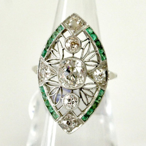 Antique Platinum Diamond & Emerald Ring