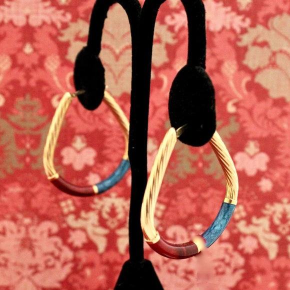 Captivating & Fun Italian Enamel Hoop Earrings, 14K Gold