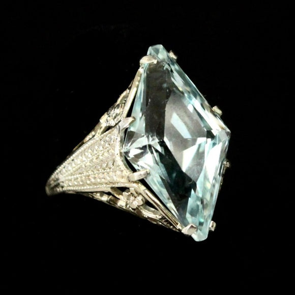 Aquamarine Marquis Shaped Ring with decorative open work