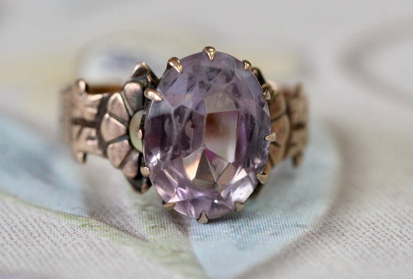 Amethyst Rose Gold Victorian Ring