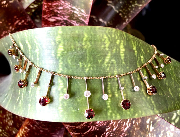 Platinum Garnet and European Cut Diamond Neckpiece