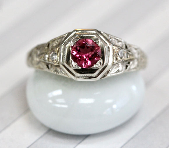 Pretty ~ VINTAGE ~ Pink Tourmaline & Diamond Ring