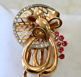 Funky & Fabulous ~ Retro Diamond and Ruby Pin