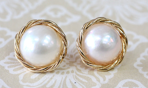 Mabe Pearl Earrings with Rope edging ~ Shimmering