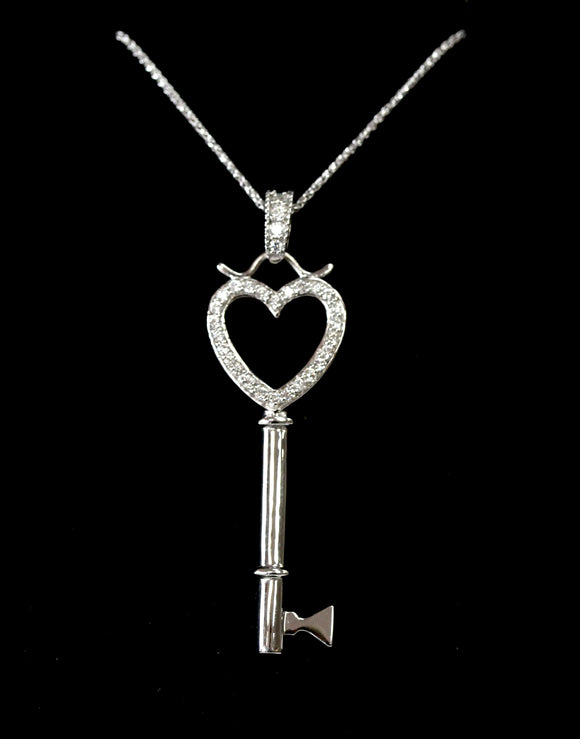 Sparkling & Fun ~ Key Shaped necklace with Diamond heart