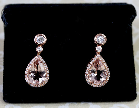 Mesmerizing ~ Morganite & Diamond Earrings