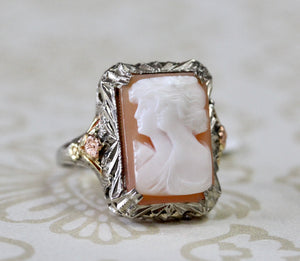 VINTAGE ~ Cameo Ring with Rose & Green Gold Accents