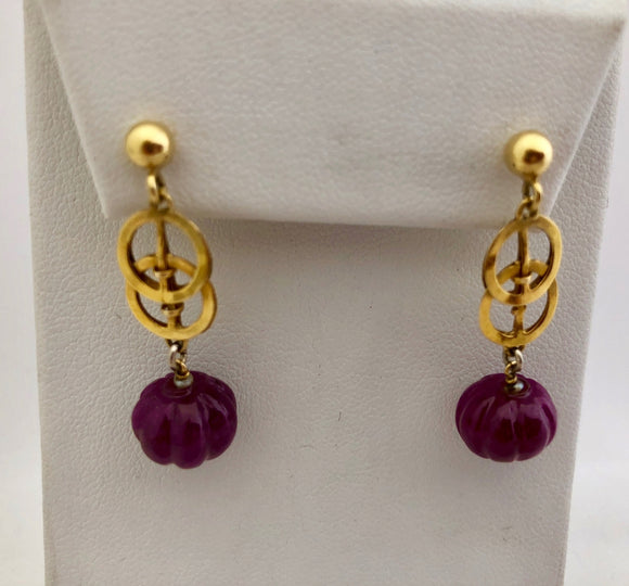 Carved Ruby Celtic Earrings