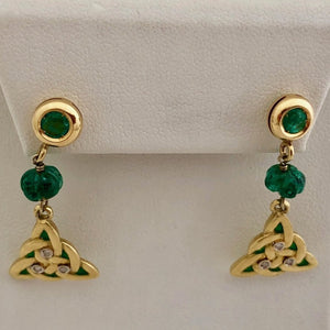 Emerald and Diamond Celtic Knot Earrings