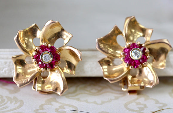 RETRO ~ Flower Motif Earrings