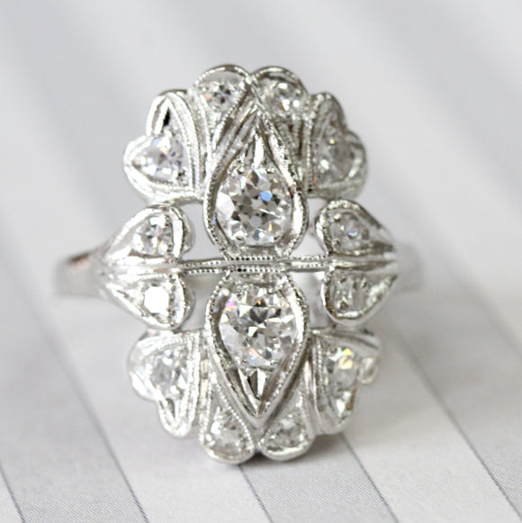 Elegant & Romantic ~ Diamond Platinum Ring with hearts