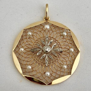 Antique Diamond and Pearl Pendant