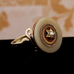 Unique  9 Ct. Victorian Agate, Enamel & Pearl ring