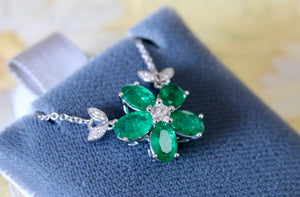 Exciting ~ Emerald Necklace with Diamonds