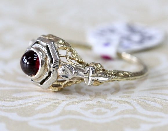 Antique ~ Dainty Garnet Ring, Two Tone