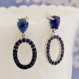 Delightful Pear Shaped Sapphire earrings, Cabochon Sapphire tops & faceted small sapphires, 18K, White Gold