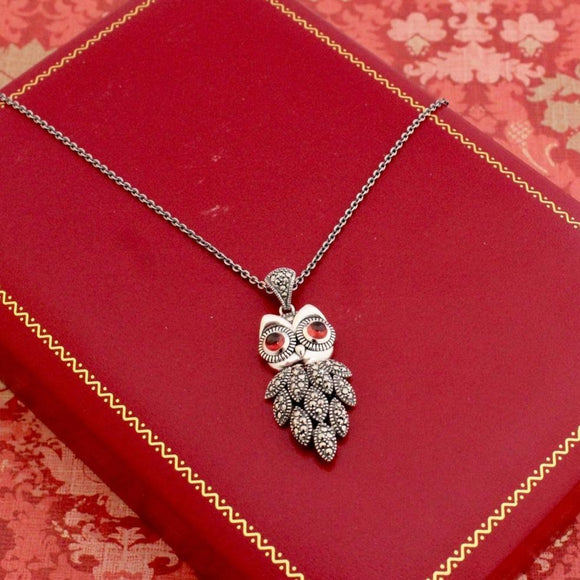 Adorable ~ Sterling Silver Owl Necklace with Garnet Eyes