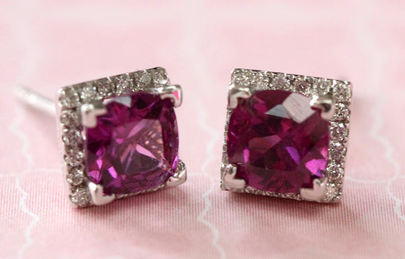 Grape Garnet & Diamond Earrings