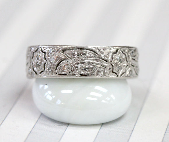 Romantic ~ Lacey Patterned Diamond and Platinum Eternity Band ~