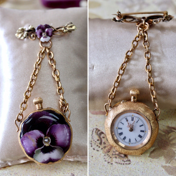 Antique Enamel Lapel Watch Pin