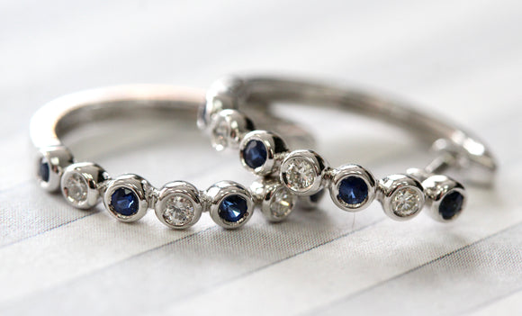 Sapphire & Diamond Hoop Earrings ~ Classic