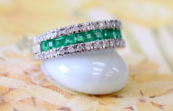 Square Cut Emerald Ring Flanked by Double Row of Diamonds