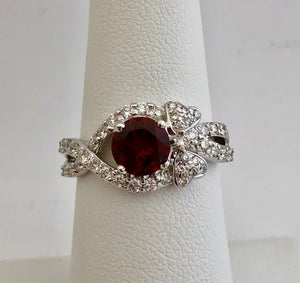 Garnet and Bow Motif Diamond Ring