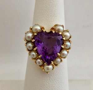 "Purple Stone and Pearl ""Heart"" Ring"