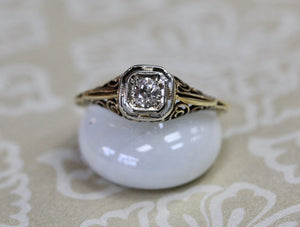 Vintage .20 Carat Center Diamond Ring
