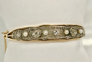 Antique Pearl and Diamond Bangle