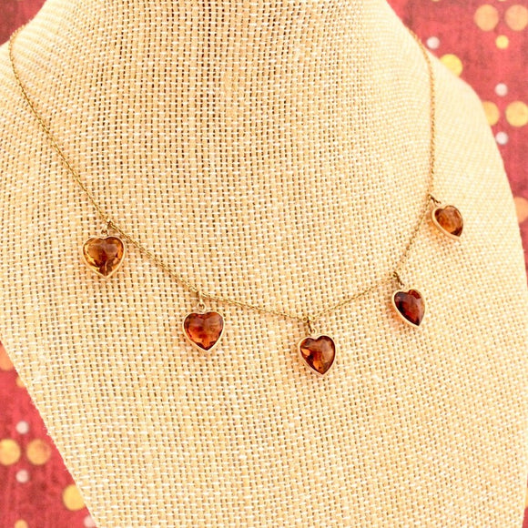 Romantic Antique Heart-Shaped Citrine and Gold Necklace