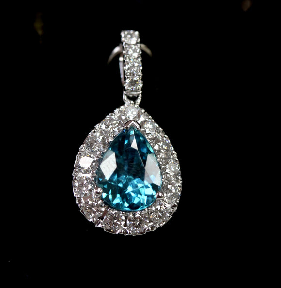 Blue Zircon & Diamond Pendant