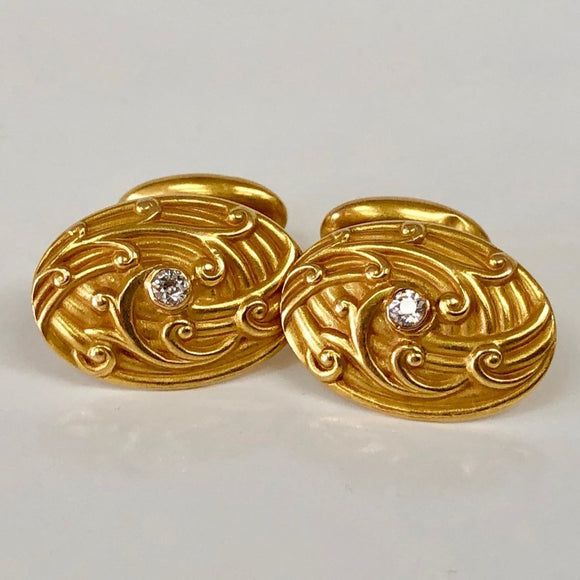 Gold and Diamond Cufflinks