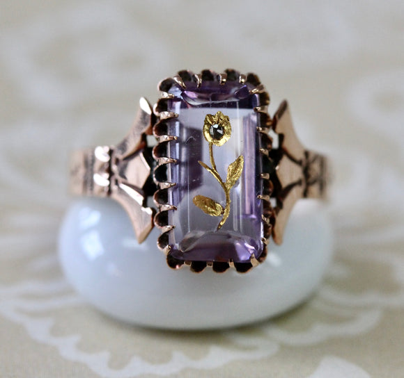 Rose of Sharon Amethyst Victorian Ring ~ Rose Gold