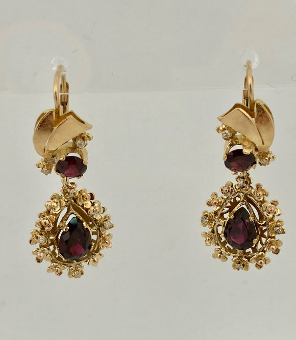 Garnet and Diamond Drop Earrings