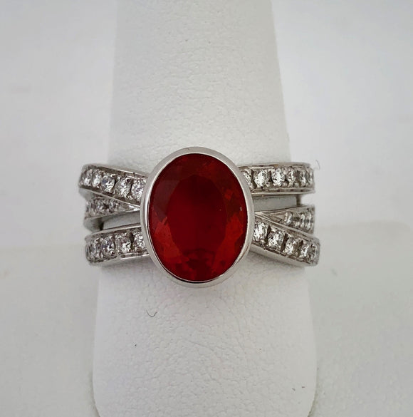 Fire Opal and Diamond Ring