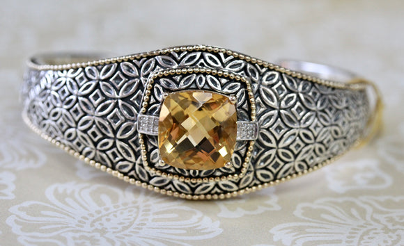 Funky ~ Citrine Sterling Silver & Gold Bracelet with Diamonds