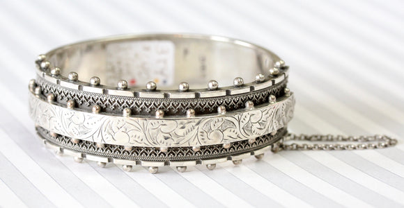 Distinctive & Detailed  Sterling Bangle, Circa 1880
