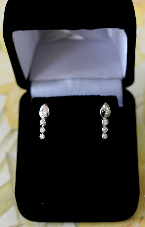 Dainty ~ Diamond Drop Earrings