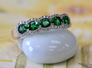 Green 6 Oval Tsavorite Band with Diamond Detail