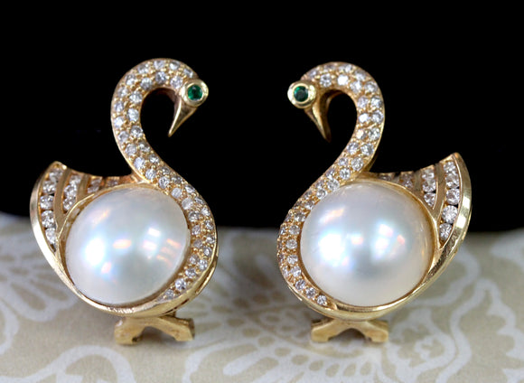 Graceful ~ Mabe Pearl Swan Earrings with Diamonds