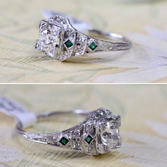 SPECTACULAR ~  ANTIQUE Platinum Diamond Ring with Emeralds