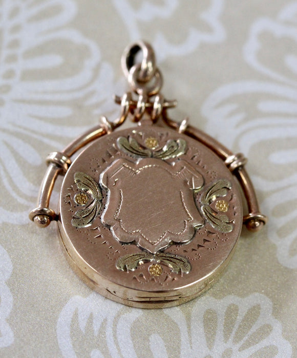 Charming ~ Victorian Locket in Rose, Green & Yellow Gold
