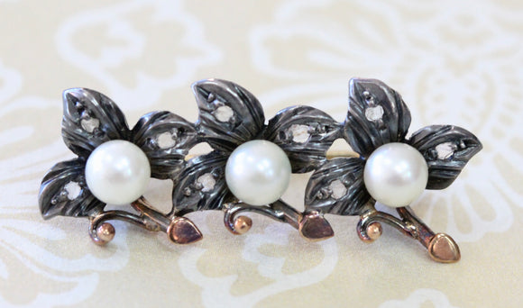 ANTIQUE ~ French Pin with Diamonds & Pearls