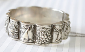 VINTAGE ~ Silver Bangle with Months, Circa 1930
