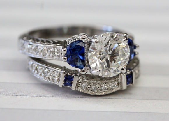 Fabulous ~ Sapphire & Diamond Engagement Set ~ WOW
