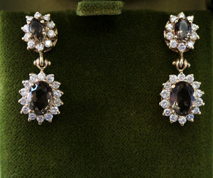 SPARKLING ~ Smoky Quartz & Diamond Earrings