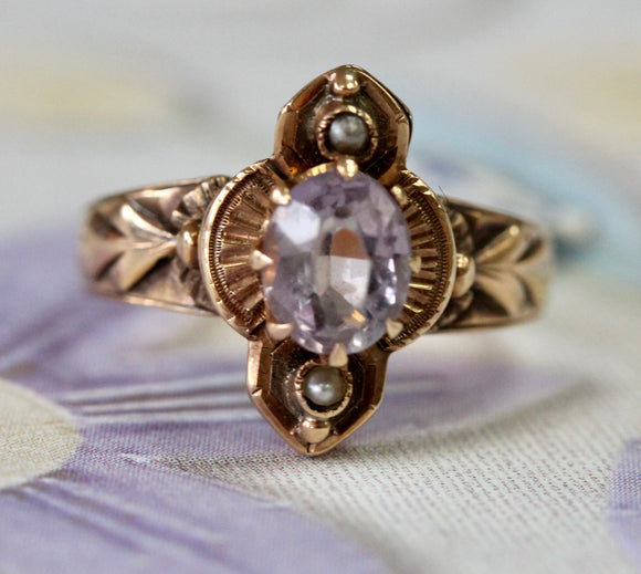 Victorian ~ Amethyst Ring in Rose Gold